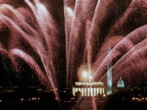 Fireworks Cascade Over the Lincoln Memorial