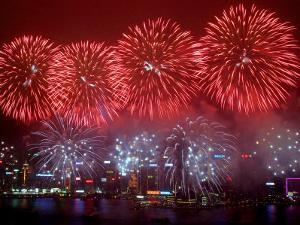 Fireworks Explode Over Hong Kong's Victoria Harbor