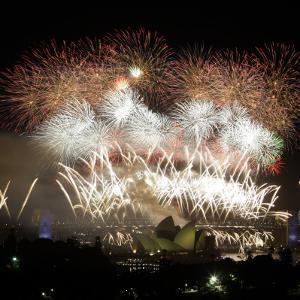 Fireworks Flash over Sydney Harbor During New Year Celebrations