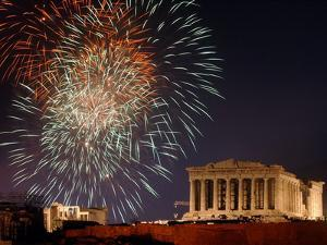Fireworks Illuminate the Ancient Parthenon on Top of Acropolis Hill