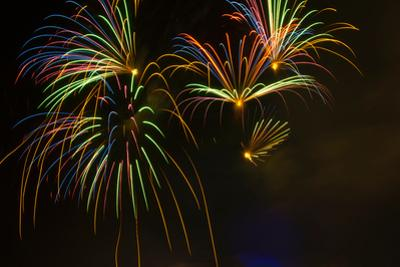 Fireworks in sky during Fourth of July celebration in Philadelphia, Pennsylvania, USA