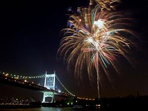 Fireworks Light up the Sky Over the Triborough Bridge and the East River
