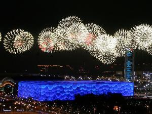 Fireworks over Water Cube, 2008 Summer Olympics, Beijing, China