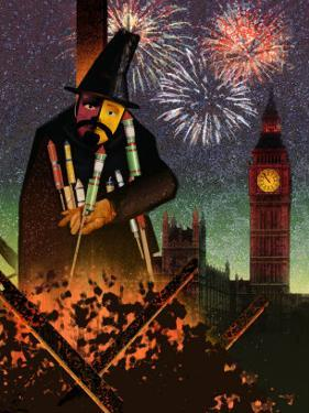 Fireworks with the Parliament in the Background and Fireworks Exploding in the Sky