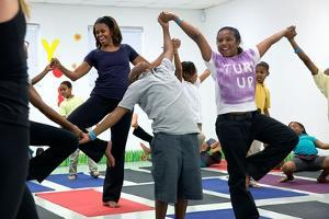 First Lady Michelle Obama Joins an after School 'Let's Move!' Yoga Class after School Activities