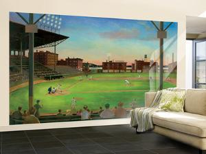 First Pitch Baseball Diamond Huge Mural Art Print Poster