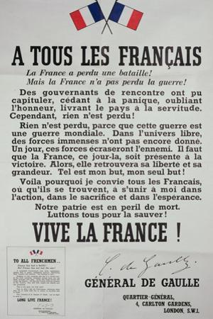 First Poster for the 18th June 1940 Address by General Charles De Gaulle