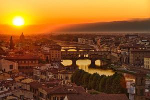 Florence Arno River and Ponte Vecchio at Sunset, Italy by fisfra