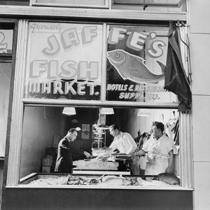 Fish Store in the Lower East Side, the Jewish Neighborhood of New York City. August 1942