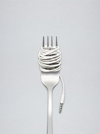 A Shining Fork with Noodle Made of Cable with Music Jack Plug in Metal