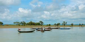 Fisherman in boats, Kaladan River, Rakhine State, Myanmar