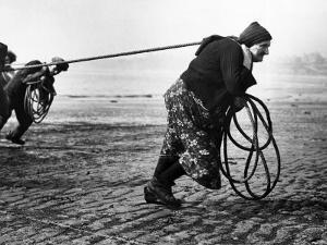 Fisherwomen from Newbiggin, Northhumberland, England Hauling up the Boats 1930s