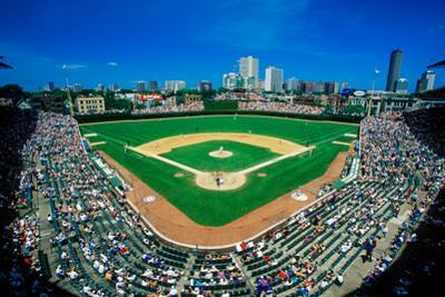 Fisheye view of crowd and diamond during a professional baseball game, Wrigley Field, Illinois