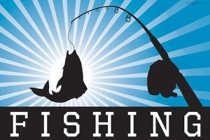 Fishing Blue Sports Poster Print