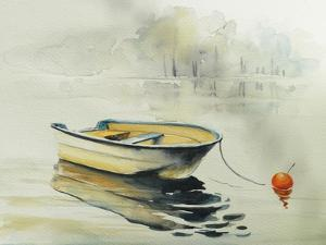 Fishing Boat on the Lake or River in Harmony with Nature. Picture Created with Watercolors.