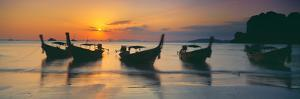 Fishing Boats in the Sea, Railay Beach, Krabi, Krabi Province, Thailand