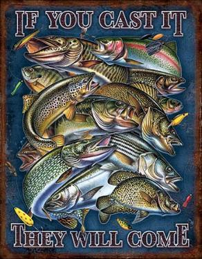 Fishing - If You Cast It They Will Come Distressed Retro Vintage Tin Sign