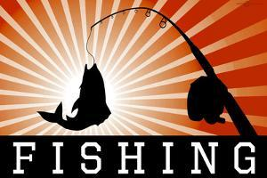 Fishing Red Sports Plastic Sign