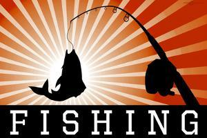 Fishing Red Sports Poster Print