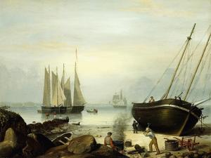 Beached for Repairs, Duncan's Point, Gloucester, 1848 by Fitz Henry Lane