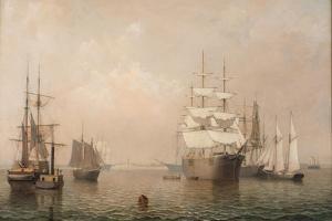 Merchantmen Off Boston Harbor, 1863 by Fitz Henry Lane