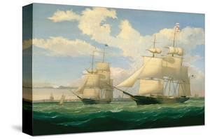 """The Ships """"Winged Arrow"""" and """"Southern Cross"""" in Boston Harbor, 1853 by Fitz Hugh Lane"""