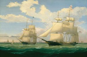 "The Ships ""Winged Arrow"" and ""Southern Cross"" in Boston Harbor, 1853 by Fitz Hugh Lane"