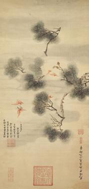 Five Bats Amidst a Pine Branch, 1844