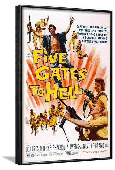 Five Gates to Hell, Top: Nobu Mccarthy, Bottom: Patricia Owens, Dolores Michaels, 1959--Framed Art Print