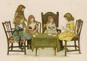Five Girls Play Cards at a Table