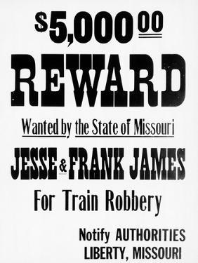 Five Thousand Dollar Reward Sign for Jesse and Frank James