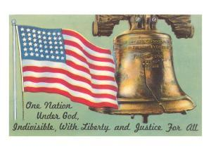Flag, Liberty Bell and Pledge