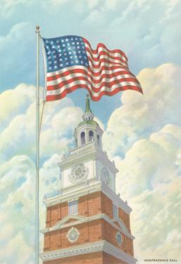 Flag over Indepence Hall, Philadelphia, Pennsylvania