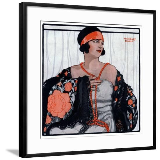"""""""Flapper in Shawl and Beads,""""January 19, 1924-G Moore-Framed Giclee Print"""