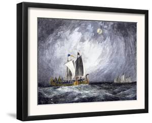 Fleet of Viking Ships at Sea