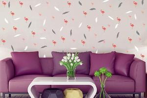FlexiMiniStickers Flamingo Plumes Wall, DIY, Home Decoration