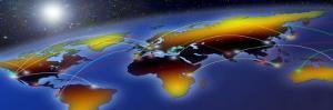Flight Plan Marked on a Globe