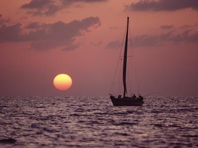 Sailboat Adrift at Sunset, Sri Lanka