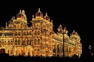 Mysore Palace in India Illuminated at Night by flocu