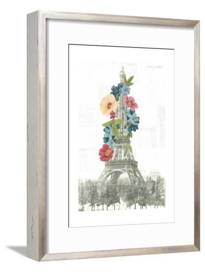Floral Eiffel Tower-Wild Apple Portfolio-Framed Art Print
