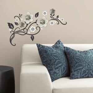 Floral Scroll Peel and Stick Wall Decals w/ 3D Cutout Flowers