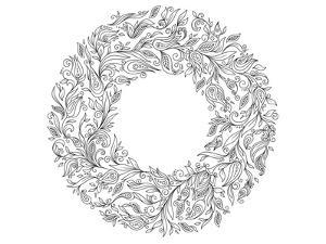 Floral Wreath Coloring Art