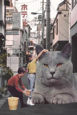 Children washing a giant Cat in Tokyo Streets by Florent Bodart
