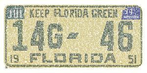 Florida License Plate Cities Text Art Print Poster