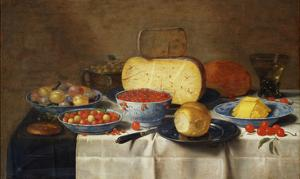 Redcurrants, Wild Strawberries and Plums in Wanli Kraak Porselein Bowls, a Bread Roll on a Pewter… by Floris van Schooten