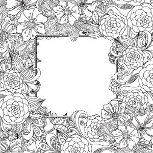 Flowers and Leaves Hand Drawn Zentangle Style Vector Frame. Doodle Art Decorative Border.