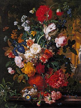 Flowers' Pot in a Garden