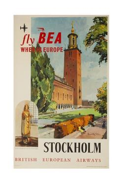 Fly Bea When in Europe, Stockholm Travel Poster
