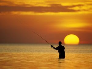 Fly Fisherman in the Florida Keys, Florida, USA