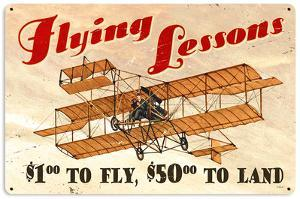 Flying Lessons Steel Sign